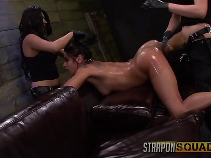 Amateur gets clamped and ass fucked by her two mistresses