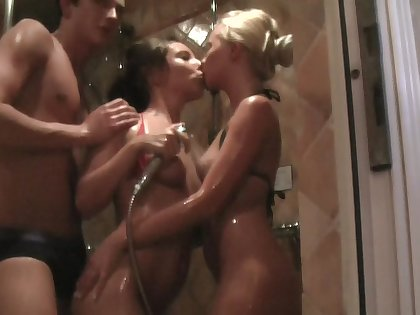 Anne in homemade porn scene with two hotties and a fucker