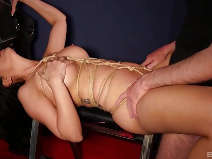 Amazing bondage sex and orgasms for the naked wife